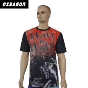 Men′s Fashion Top Quality 100% Polyester Red and Black T-Shirt pictures & photos