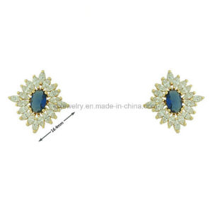 High Quality Plated Colorful Ear Stud with CZ (KE3138) pictures & photos