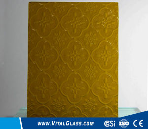 3-6mm Amber Flora Patterned Glass with CE&ISO9001 pictures & photos