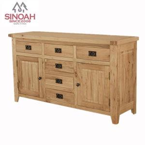 Rustic Oak Wooden 2 Door 6 Drawer Sideboard