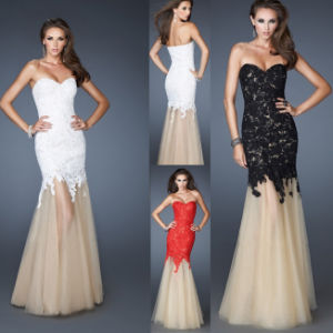 Lace Prom Cocktail Dresses Mermaid Strapless Evening Dress N2016781 pictures & photos