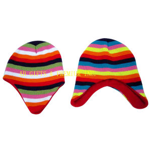 Colorful Acrylic Eaflap Stripped Knit Hat pictures & photos
