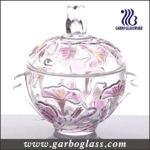 Decorative Glass Sugar Pot with Color pictures & photos