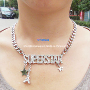 Fashion Jewelry Letter with Crystals Necklace Jewelry (SFN0046B)