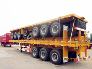 Tongya Export Tri-Axle 12 Twist Locks Flat Bed Container Trailer pictures & photos