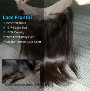 Bliss Hair 13X4 Lace Frontal Three/Free/Middle Part Top Swiss Lace Frontal Straight Brzilian Virgin Human Hair Frontal Pieces pictures & photos