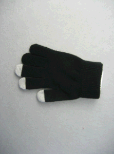 10g Black Polyester Liner Three Finger Touch Glove-T3107 pictures & photos