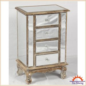 Classical Antique 4-Drawer Wooden Mirrored Chest for Storage pictures & photos