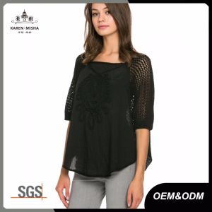 Embroidery Knitted Boat Neck Blouse pictures & photos