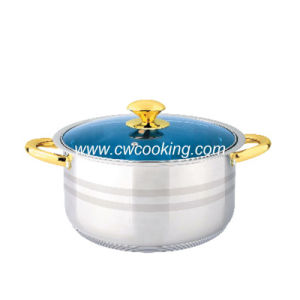 Stainless Steel Stock Pot - Gold Plated Handle pictures & photos