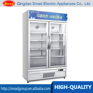 Double Glass Floding Door Display Refrigerator Showcase for Supermarket pictures & photos