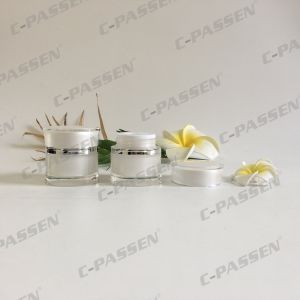 15g Pearl White Waisted Acrylic Cream Cosmetic Jar (PPC-ACJ-111) pictures & photos