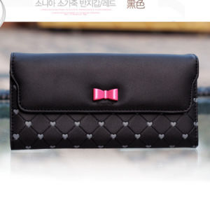 Black Girls Wallet Pink Bow Heart Women Purse pictures & photos