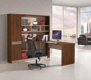 Modern U Shape Home Office Executive Desk with Bookshelf pictures & photos