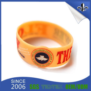 Fashion Design Edbossed Silicone Bracelet with Custom pictures & photos