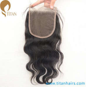 Virgin Human Hair Middle Part Lace Closure with Baby Hair pictures & photos