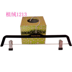Wholesale Black No Slip Custom Plastic Clip Pant Hangers Velvet pictures & photos