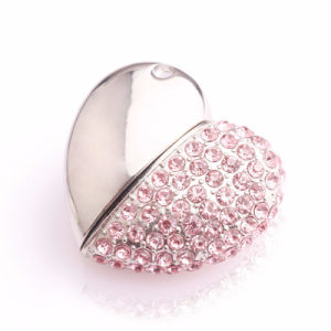 Metal Crystal Heart Jewelry USB Flash Drive Memory Stick 1GB 2GB 4GB 8GB 16GB 32GB 64GB USB Storage pictures & photos