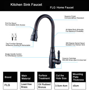 Flg Pull-Down Orb Sprayer Kitchen Sink Faucets/Tap/Mixer pictures & photos