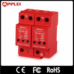 Secondary AC Power Lightning Protector DIN Rail 100ka Surge Arrester pictures & photos