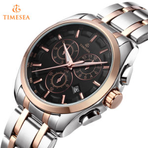 Mens Quartz Watch with Black Dial Chronograph Steel Bangle Watches72431 pictures & photos