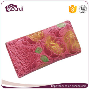 Multifunction Colorful PU Wallet Woman, Flower Embossed Purse Long Design pictures & photos