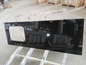 Pure Black Engineered Quartz Stone Kitchen Benchtops Worktops pictures & photos