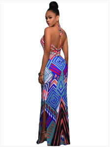 Geometric Pattern Boho Style Maxi Dress with Slit pictures & photos