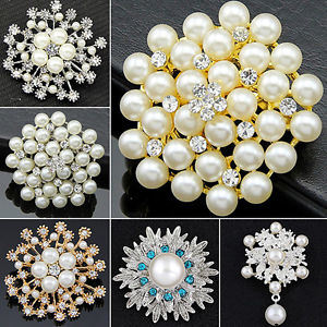 Rhinestone Flower Bridal Wedding Pin Pearl Brooch for Decorate (TB-036) pictures & photos