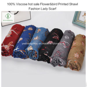 100% Viscose Hot Sale Flower&Bird Printed Shawl Fashion Lady Scarf pictures & photos
