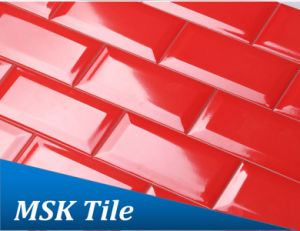 "3X6"" Red Gloss Bevelled Glazed Subway Wall Tile pictures & photos"