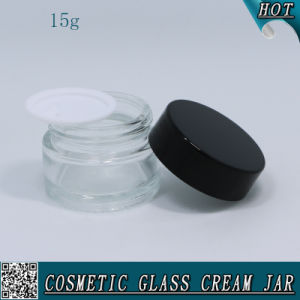 15ml 15g Cosmetic Clear Glass Cream Jar with Plastic Cap pictures & photos
