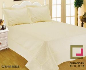 Embroider Quilt Bedding Set Solid Color