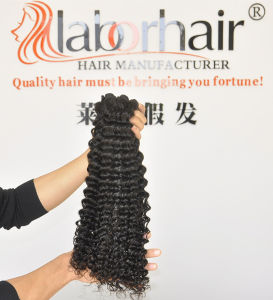 Unprocessed Labor Hair Extension 105g (+/-2g) /Bundle Natural Brazilian Virgin Hair Deep Curly 100% Human Hair Weaves Grade 8A pictures & photos