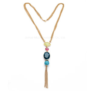 Fashion Tassel Statement Chain Necklace & Pendant Women blue Imitation Stone Resin Gold Plated Jewellery pictures & photos