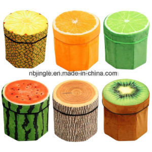 Fruit Design Round Fabric Foldable Storage Box as Chair