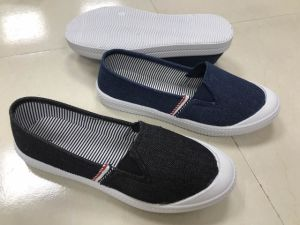 Washed Demin Upper Canvas Shoes with Woven Tape Decoration