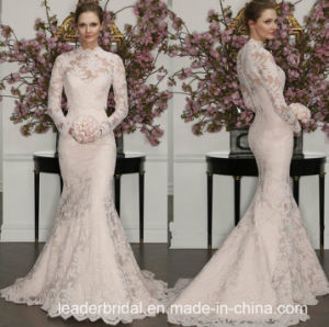 High Neck Lace Bridal Gowns Long Sleeves Wedding Dresses Z8021 pictures & photos