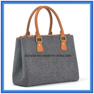 Customized Design Wool Felt Casual Shopping Handle Bag, Hot Promotion Carrier Tote Handbag with PU Leather Comfortable Handle pictures & photos
