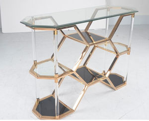 Modern Luxury Hotel Office Bar Stainless Steel Console Table with Tempeted Glass Show Shelf