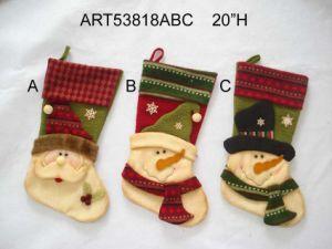 Plush Fleece Christmas Home Decoration Snowman Stocking, 3asst pictures & photos