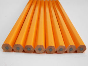 Yellow Pencil Wooden Pencil Hex Pencil with Eraser pictures & photos