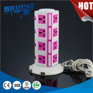 5 Layers Universtal Vertical Socket with 2100mA USB Ports pictures & photos