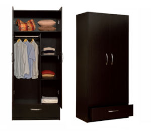 Melamine Laminated MFC Wooden Clothes Storage Cabinet /Wardrobe (HX-DR314) pictures & photos