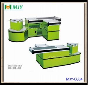 Supermarket Cashier Counter with Conveyor Belt Mjy-Cc04 pictures & photos