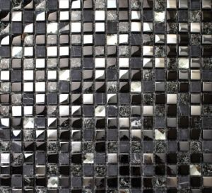 Black Ice Cracked Marble and Glass Mosaic Tile (15*15) pictures & photos