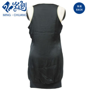 Black Sexy Silky Sleeveless Loose Ladies Party Dress with pictures & photos