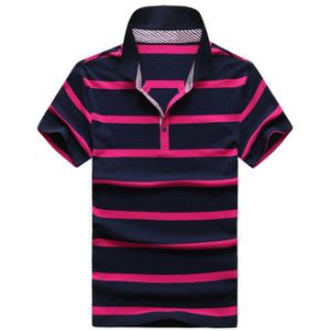 OEM Embroidered Short Sleeve Pique Striped Polo Shirt pictures & photos