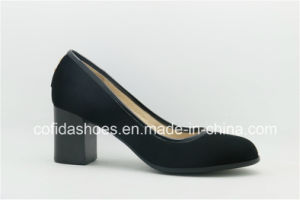 Simple Design Comfort Chunky Heel Leather Lady Shoes pictures & photos