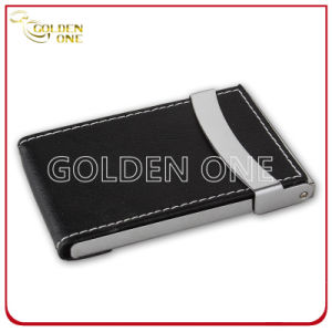 Promotion Gift Black Genuine Leather Name Card Case pictures & photos